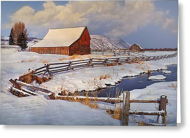 Award Winning Art Greeting Cards - Snowed In Greeting Card by Priscilla Burgers