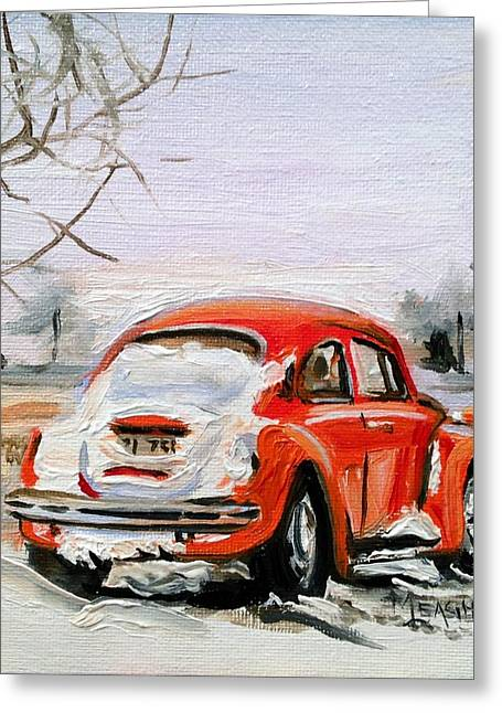 Vw Beetle Paintings Greeting Cards - Snowed In Greeting Card by Spencer Meagher