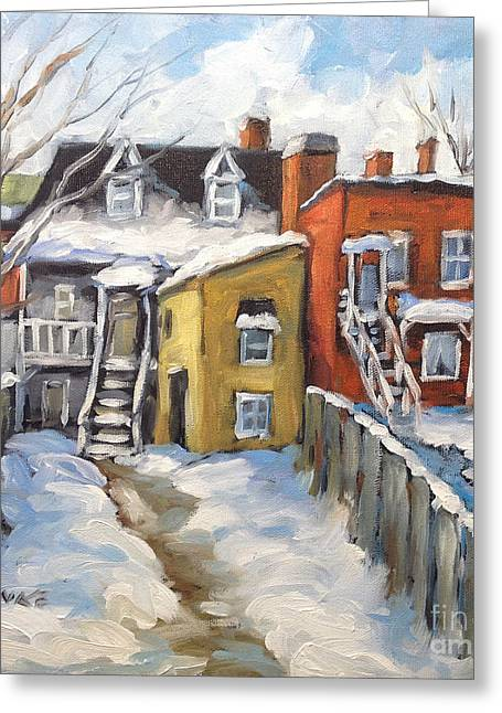 Street Art For The Home Greeting Cards - Snowed in Yards by Prankearts Greeting Card by Richard T Pranke