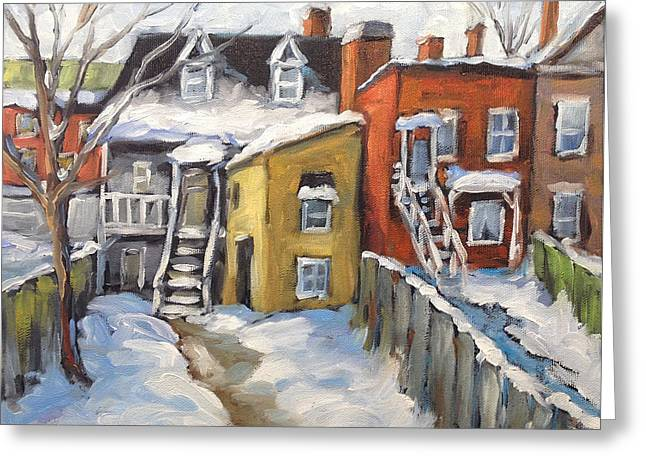 Original By ist Paintings Greeting Cards - Snowed in Yards by Prankearts Greeting Card by Richard T Pranke