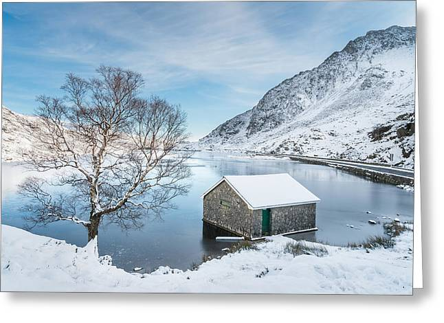 Smart Greeting Cards - Snowfall at Llyn Ogwen Greeting Card by Christine Smart