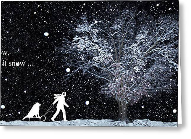 Snow Tree Prints Greeting Cards - Snowfall at Night - Wide format Greeting Card by Sheila Kay McIntyre