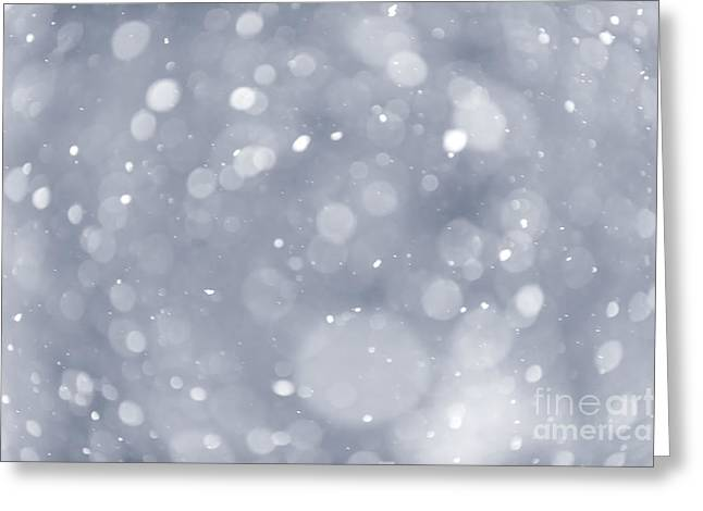 Snowy Night Greeting Cards - Snowfall background Greeting Card by Elena Elisseeva