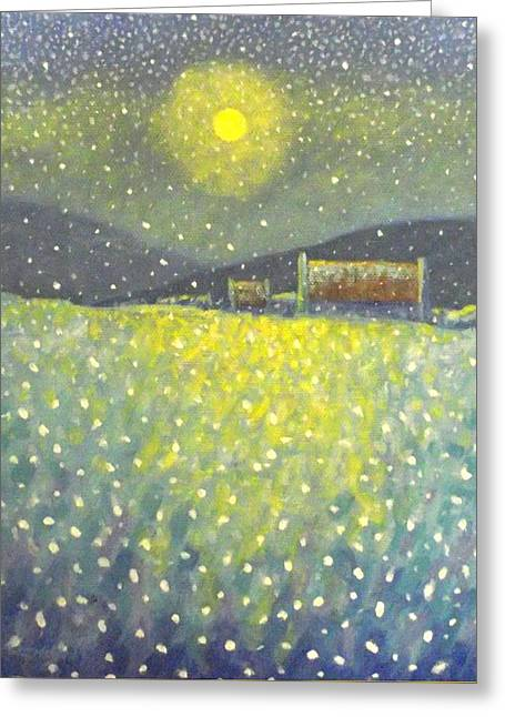 Mist Paintings Greeting Cards - Snowfall County Wicklow  Greeting Card by John  Nolan