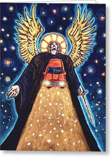 Night Angel Greeting Cards - Snowfall Greeting Card by David Condry