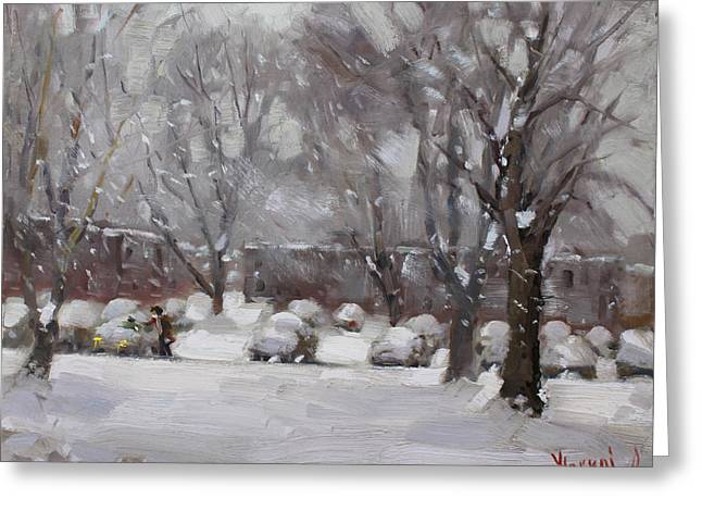 Winter Landscape Paintings Greeting Cards - Snowfall in Royal Park Apartments Greeting Card by Ylli Haruni