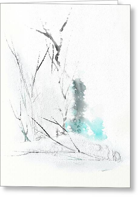 Clean Water Mixed Media Greeting Cards - Snowfall Greeting Card by Len YewHeng