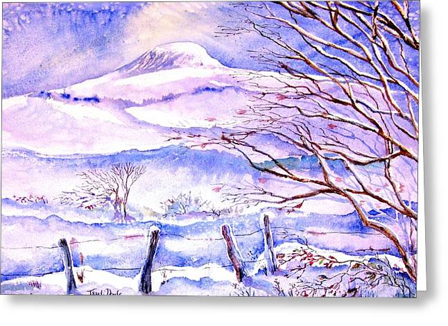Snow Drifts Paintings Greeting Cards - Snowfall on Eagle Hill Hacketstown Ireland  Greeting Card by Trudi Doyle