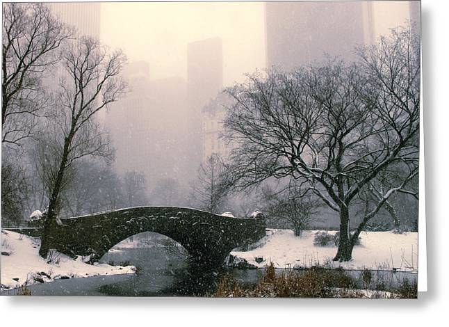 Urban Buildings Digital Greeting Cards - Snowfall on Gapstow Bridge Greeting Card by Jessica Jenney