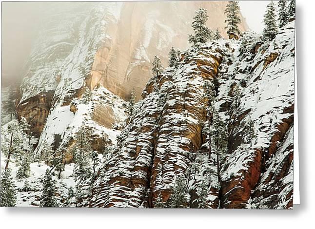 Snowfall Zion National Park Utah Greeting Card by Robert Ford