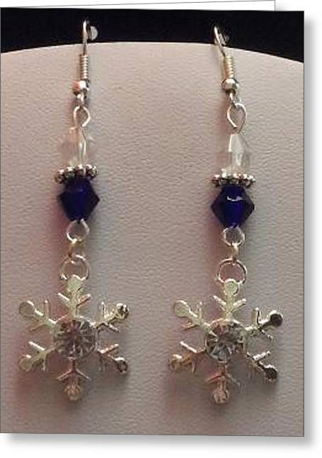 Sapphire Jewelry Greeting Cards - Snowflake and Sapphire Bicone Earrings Greeting Card by Kimberly Johnson