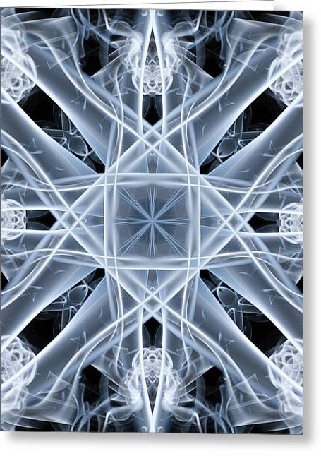 Smoking Trail Greeting Cards - Snowflake Greeting Card by Steve Purnell