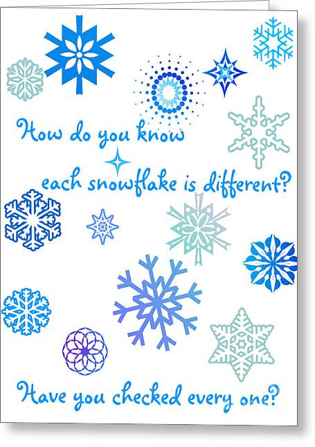 Humorous Greeting Cards Greeting Cards - Snowflakes Greeting Card by Methune Hively