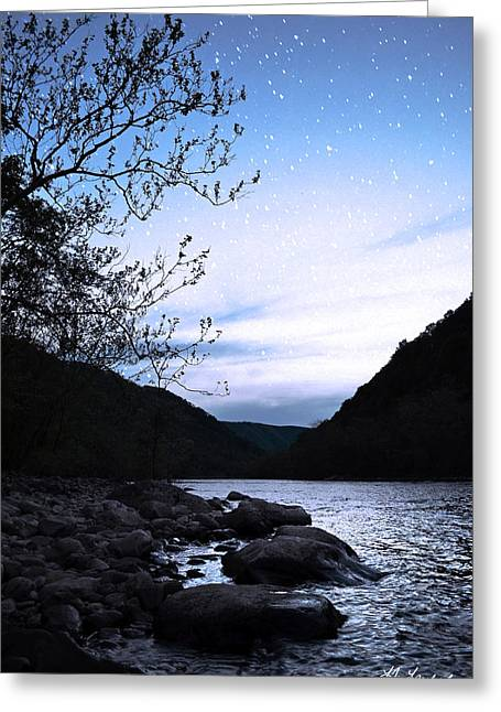 Vinter Greeting Cards - Snowflakes on the RIver Greeting Card by Lj Lambert