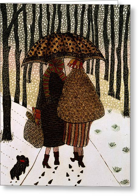 Umbrellas Photographs Greeting Cards - Snowflakes Print Greeting Card by Gillian Lawson