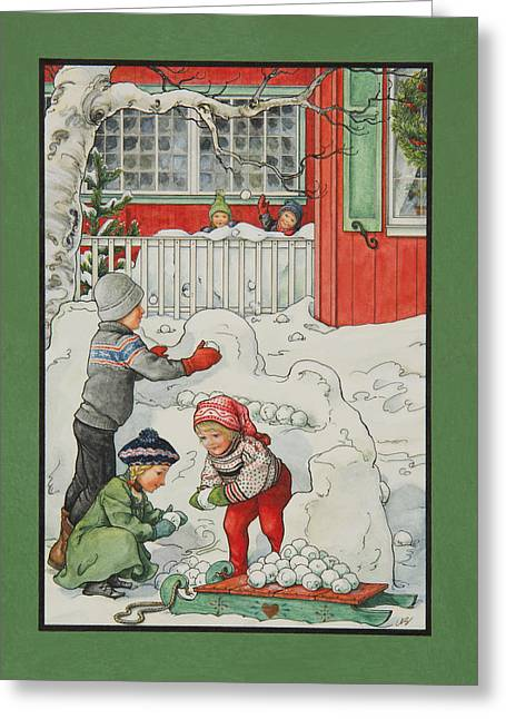 Snowball Fight Greeting Cards - Snow Forts Greeting Card by Lynn Bywaters