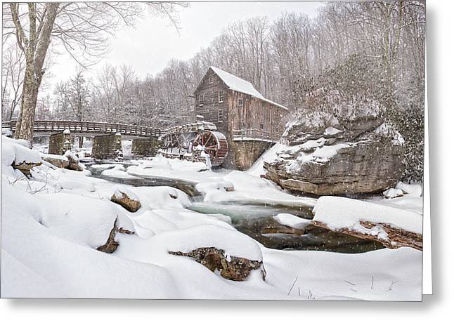 Bobcats Greeting Cards - Snowglade Creek Grist Mill 1 Greeting Card by Emmanuel Panagiotakis