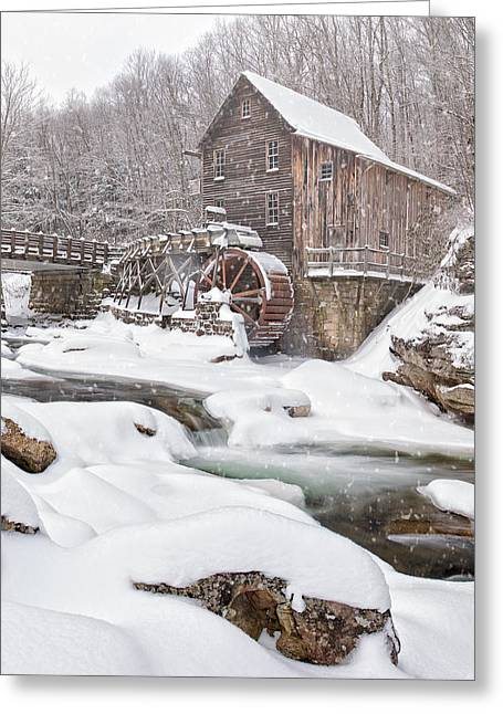 Grist Mill Greeting Cards - Snowglade Creek Grist Mill Greeting Card by Emmanuel Panagiotakis