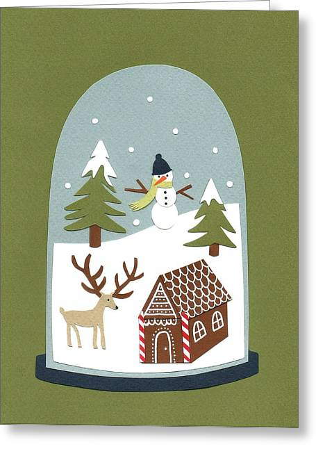Snow Globe Greeting Cards - Snowglobe Greeting Card by Isobel Barber