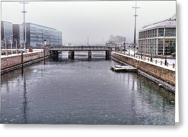 Fog Greeting Cards - Winter Bridge Greeting Card by EXparte SE