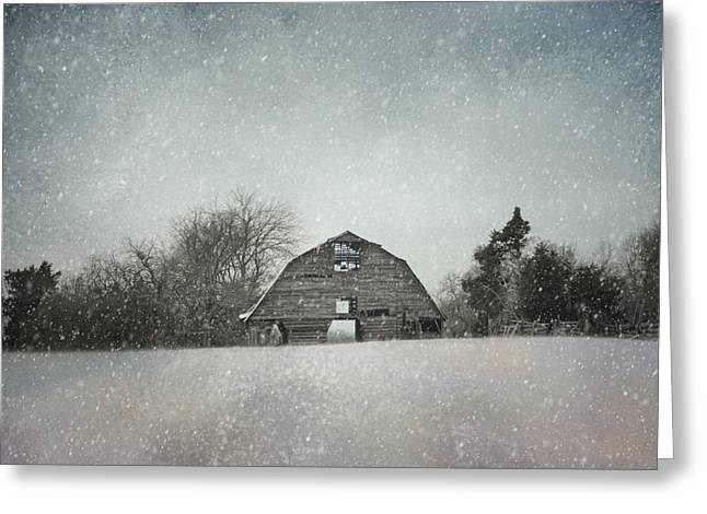Snowing At The Old Barn Greeting Card by Jai Johnson