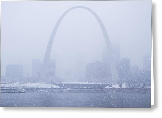 Jefferson National Expansion Memorial Greeting Cards - Snowing at the Riverfront Greeting Card by Garry McMichael
