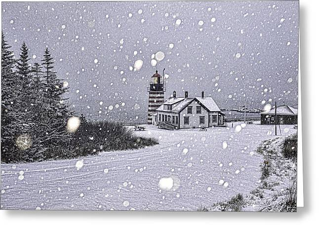 Maine Lighthouses Greeting Cards - Snowing at West Quoddy Head Lighthouse Greeting Card by Marty Saccone