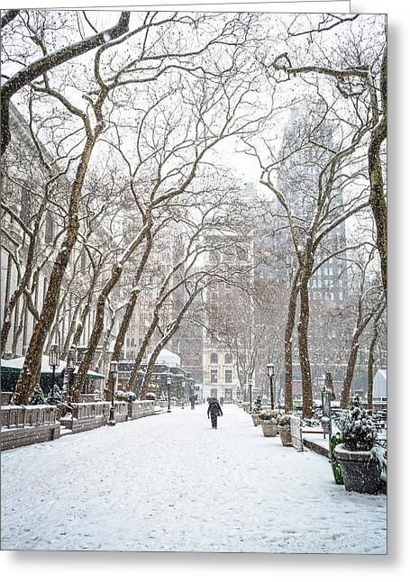 Bryant Greeting Cards - Snowing Bryant Park Greeting Card by Andrew Kazmierski