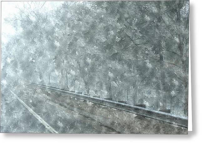 Entryway Paintings Greeting Cards - Snowing Coming Down On M-37 Greeting Card by Rosemarie E Seppala