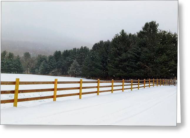 Foggy Road Greeting Cards - Snowing in Rural New York Greeting Card by Mountain Dreams