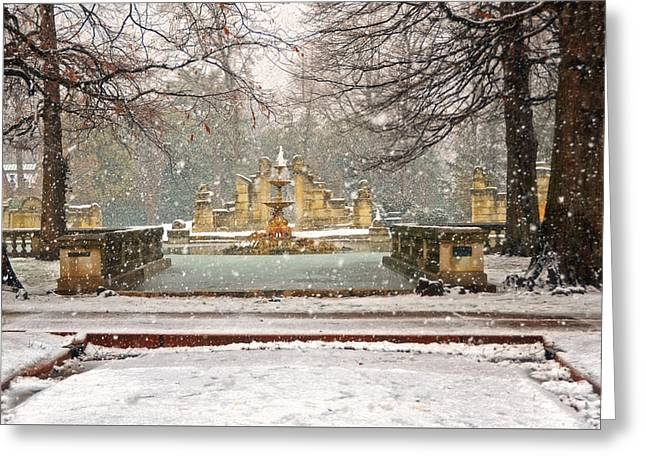 Snow On The Ground Greeting Cards - Snowing in Tower Grove Park Greeting Card by Steven  Michael