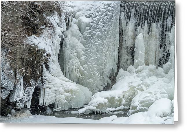 Winter In Maine Greeting Cards - Snowing On The Ice Wall Greeting Card by Stroudwater Falls Photography