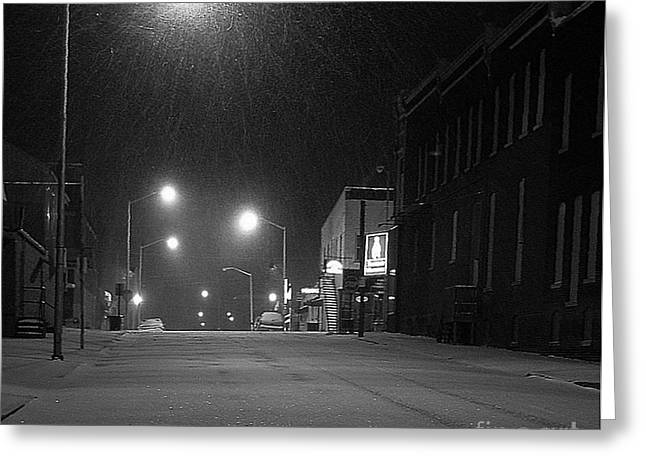Julie Dant Photographs Greeting Cards - Snowing on w. Fourth St. Greeting Card by Julie Dant