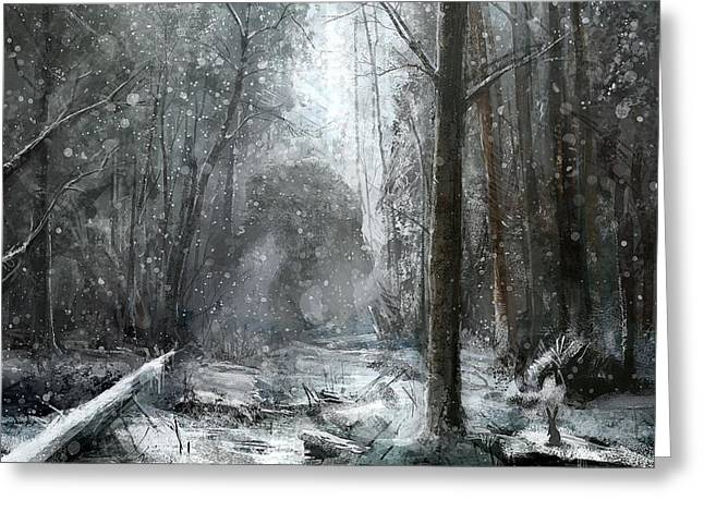 Drifting Snow Greeting Cards - Snowing Greeting Card by Raphael  Sanzio