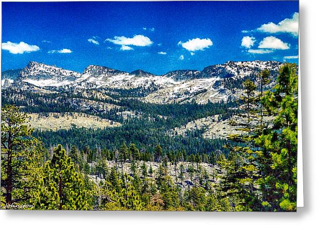 Cathedral Rock Mixed Media Greeting Cards - Snowline in Yosemite National Park Greeting Card by  Bob and Nadine Johnston