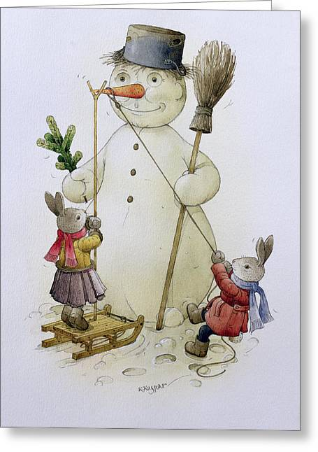 Hare Greeting Cards - Snowman And Hares, 1999 Wc On Paper Greeting Card by Kestutis Kasparavicius