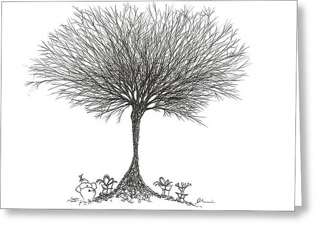 Bare Trees Drawings Greeting Cards - Snowman and Presents Greeting Card by Andrea Currie
