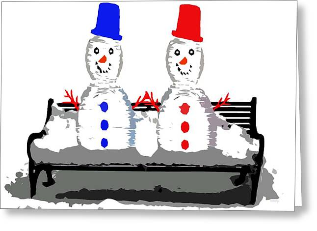 Cute Mixed Media Greeting Cards - Snowman And Snowwoman Holding Hands Greeting Card by Patrick J Murphy