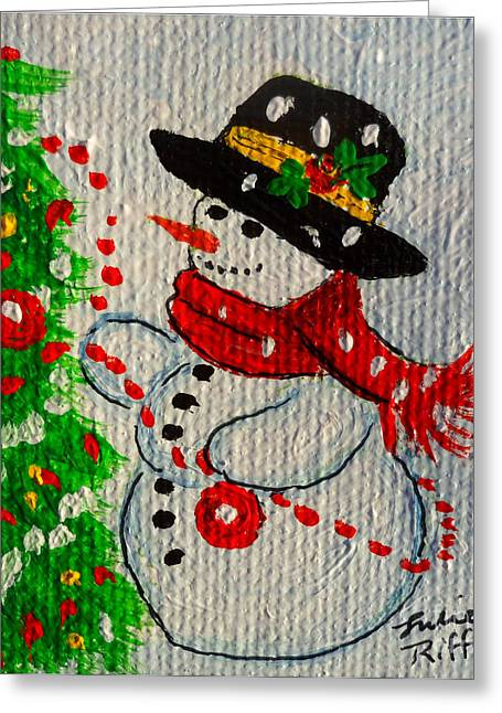 Festivities Paintings Greeting Cards - Snowman and The Christmas Tree Greeting Card by Julie Brugh Riffey