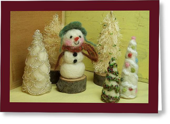 Snowman And Trees Holiday Greeting Card by Mary Wolf