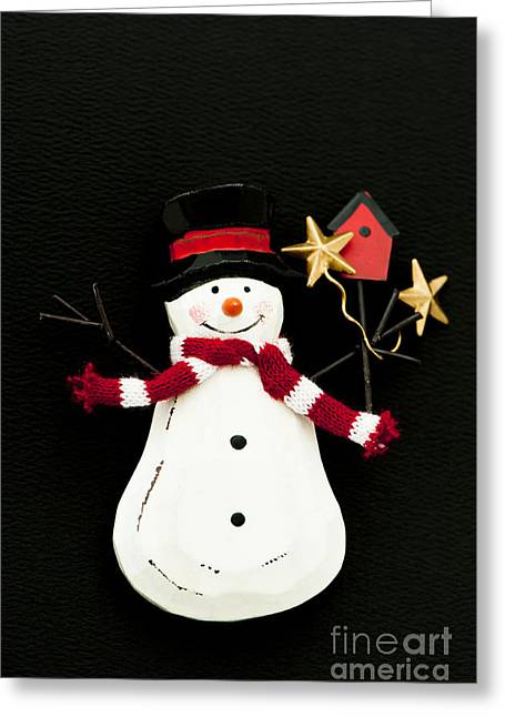 Festivities Greeting Cards - Snowman Greeting Card by Anne Gilbert