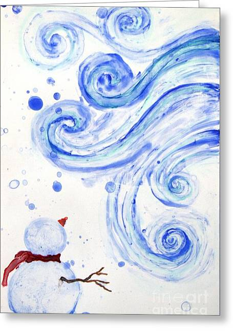 Blanche Guernsey Greeting Cards - Snowman Greeting Card by Blanche Guernsey