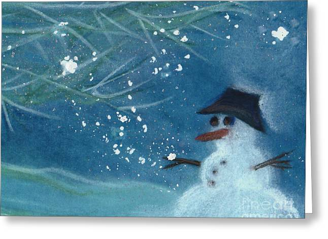 First Star Art Pastels Greeting Cards - Snowman by jrr Greeting Card by First Star Art