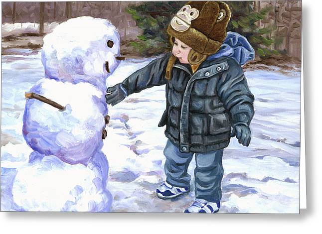 Snowy Day Paintings Greeting Cards - Snowman Greeting Card by Catherine Garneau