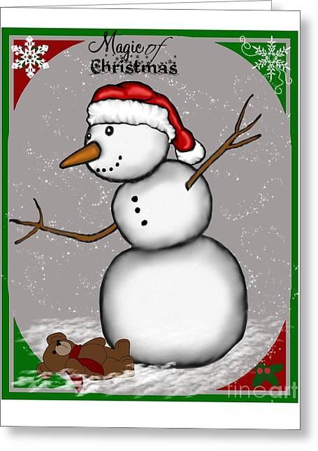 Christmas Art Greeting Cards - Snowman Christmas 5 Greeting Card by Karen Sheltrown