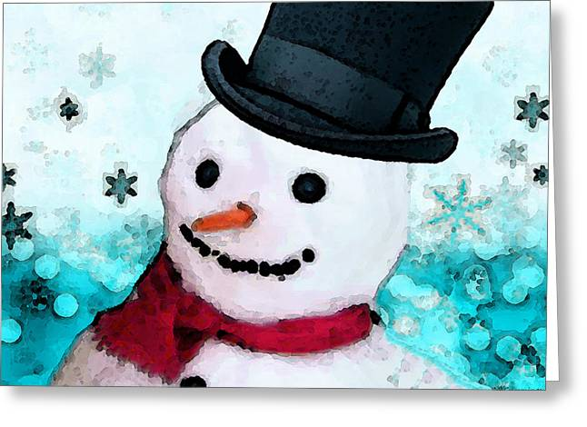 Christmas Art Greeting Cards - Snowman Christmas Art - Frosty Greeting Card by Sharon Cummings