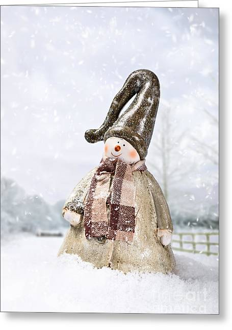 Snow Falling Greeting Cards - Snowman Greeting Card by Amanda And Christopher Elwell