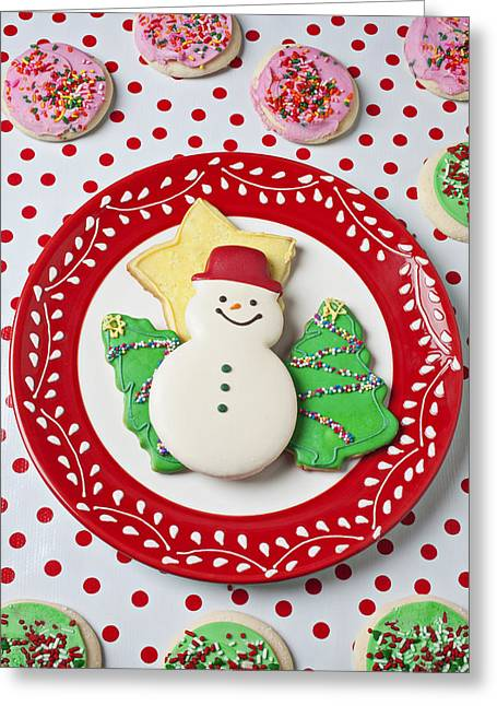 Cookie Greeting Cards - Snowman cookie plate Greeting Card by Garry Gay