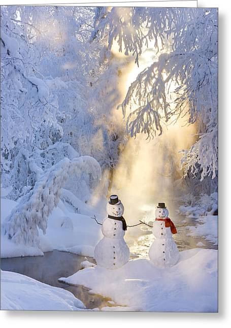 Recently Sold -  - Snowy Evening Greeting Cards - Snowman Couple Standing Next Greeting Card by Kevin Smith