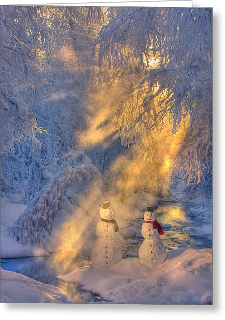 Snowy Evening Greeting Cards - Snowman Couple Standing Next To A Greeting Card by Kevin Smith